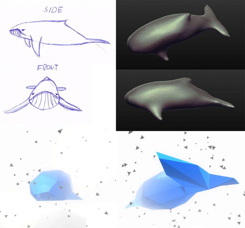 Skizzen und Umsetzung des Wals
