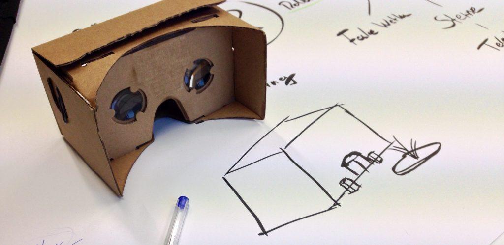 Eine Skizze mit einer Google Cardboard im Bild